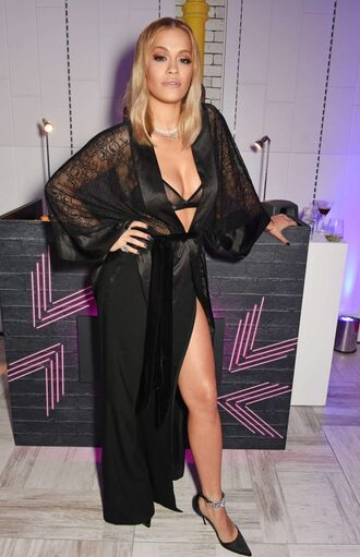 blouse pumps rita ora all black everything slit skirt lace bra shoes