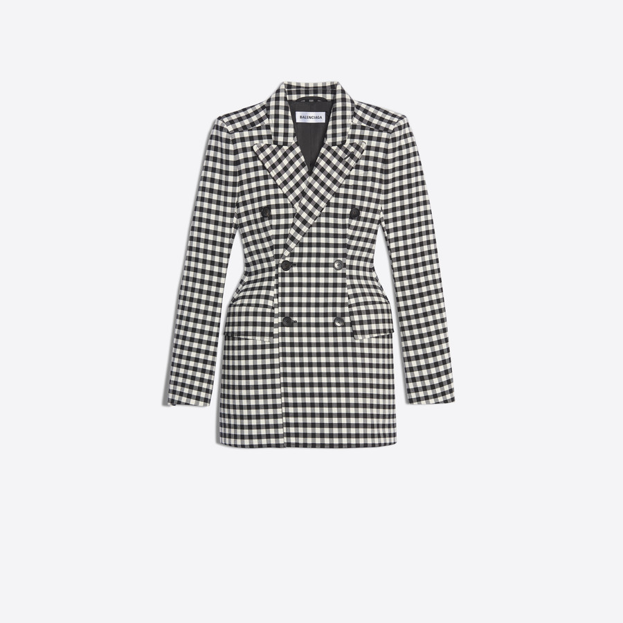 ‎Women‎'s ‎BLACK / WHITE ‎ ‎Hourglass Double Breasted Jacket ‎ | Balenciaga