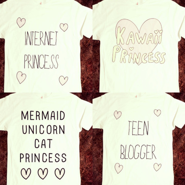 t-shirt shirt graphic tee graphic tee pink cute kawaii princess unicorn mermaid heart quote on it internet princess kawaii teen blogger cats tumblr skreened