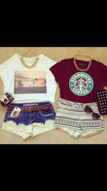 shorts regular weekend outfit starbucks coffee top