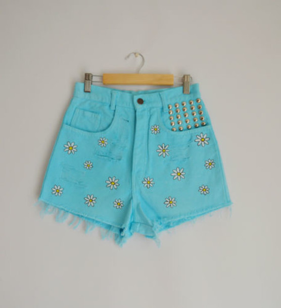 shorts aqua turquoise daisy flowers cute white yellow vintage fashion