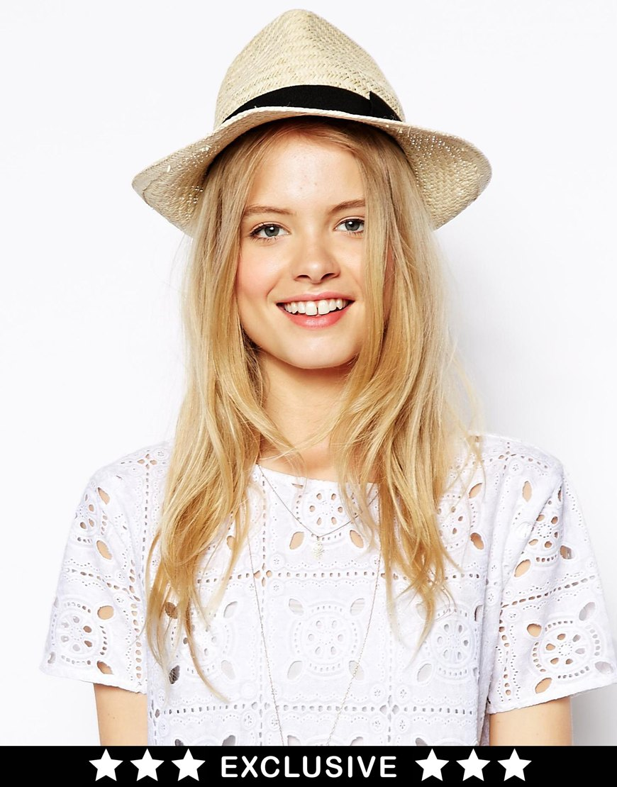 Catarzi Exclusive to ASOS Straw Hat with Black Ribbon at asos.com