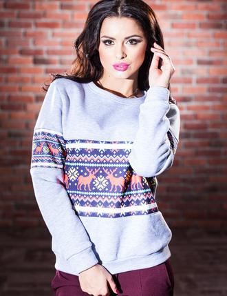 sweater zefinka sweatshirt christmas christmas sweater deer ugly christmas sweater reindeer sweater snow snowflake