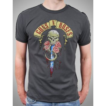 Amplified Mens Vintage Guns n Roses Dagger T Shirt, Charcoal - Amplified from Jukupop UK