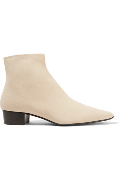 The Row - Ambra Suede Ankle Boots - Ivory