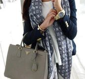 jewels,watch,scarf,jacket,bag,lv,louis vuitton,Navy blazer,gold buttons,luxury,celebrity style,luxo,outfit,lv scarf,bue,grey,classy