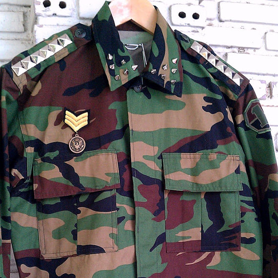 Vintage Studded Military Camo Jacket / Studded Camo by KodChaPhorn