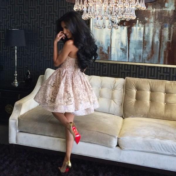 white dress cute prom dress lace ruffle dress dress