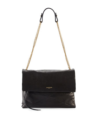 Lanvin Sugar Lambskin Shoulder Bag, Black