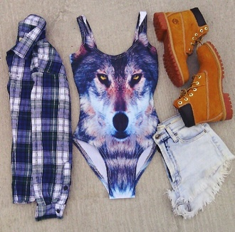 top timberlands denim shorts flannel print plaid hipster wolf wolf print shoes cardigan