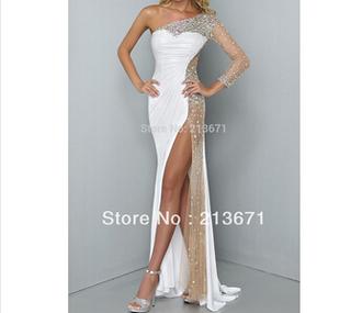 dress one shoulder prom dresses white prom dress side split prom dress long mermaid prom dresses