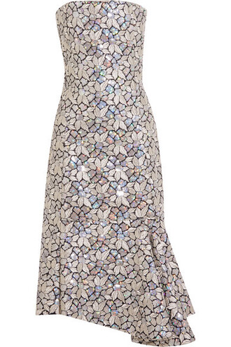 dress embroidered embellished silver cotton
