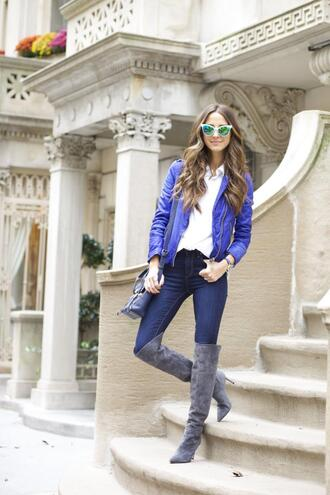 something navy blogger jeans jacket bag knee high boots cat eye blue