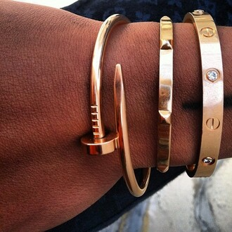 jewels bangles bracelets accessories rose gold cartier arm candy luxury expensive rich pinkg old stonesr hinestone luxe nail bangle stud stud bangle love bracelet