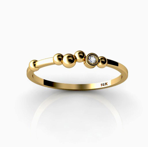 Polka dot 14k yellow gold ring with white by chicjoaillerie