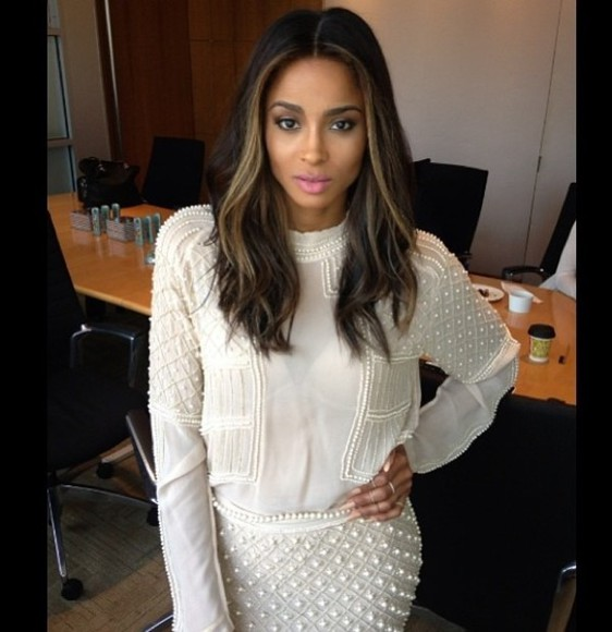 skirt pearls white sweater detailing white skirts white sweater ciara