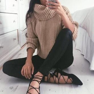 shoes black ballet flats sweater