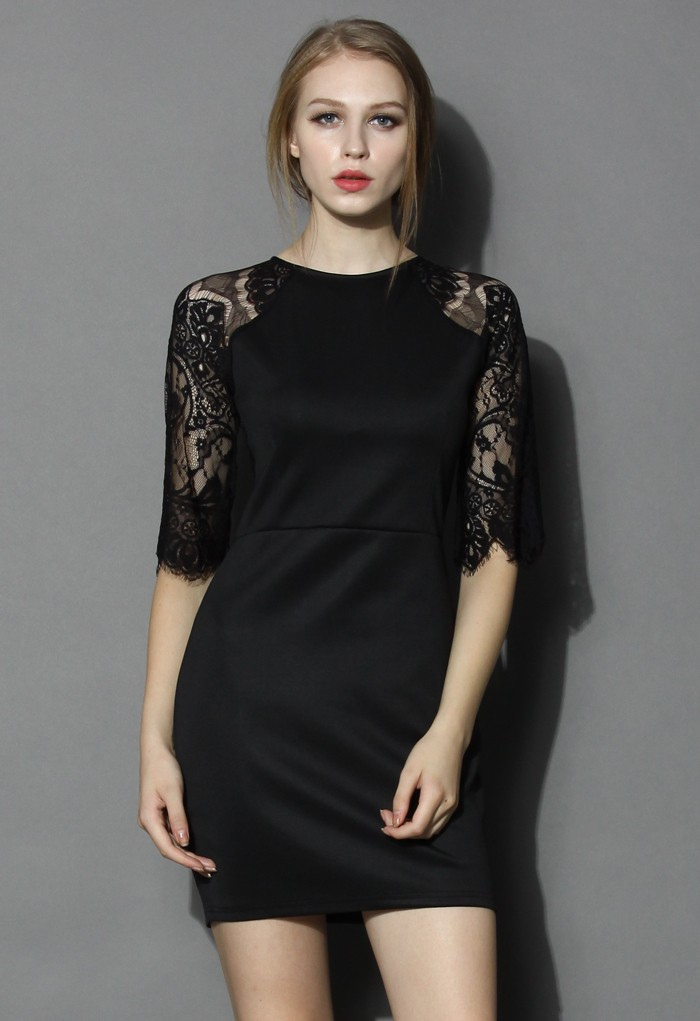 Lace Panel Shift Dress in Black - Retro, Indie and Unique Fashion