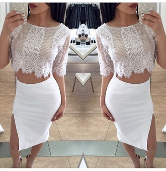 top white skirt skirt pencil skirt outfit crop tops blouse slit skirt fashion style