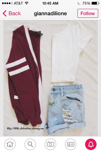 cardigan varsity cute style back to school cool shirt shorts