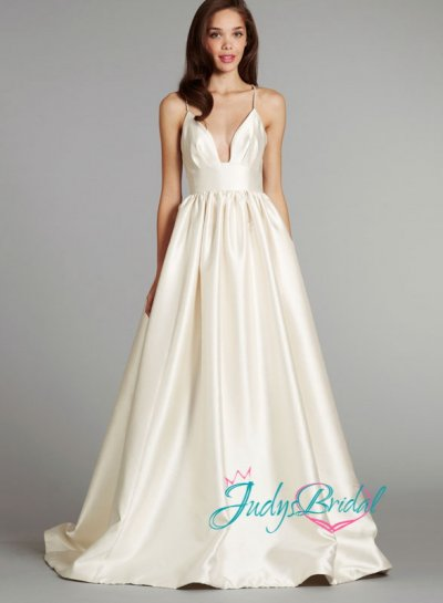 Jw14167 sexy spaghetti straps cinched waist crossover open for Cinched waist wedding dress
