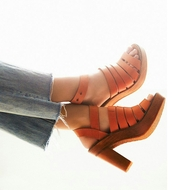 shoes,heels,retro,vintage,orange,high heel sandals