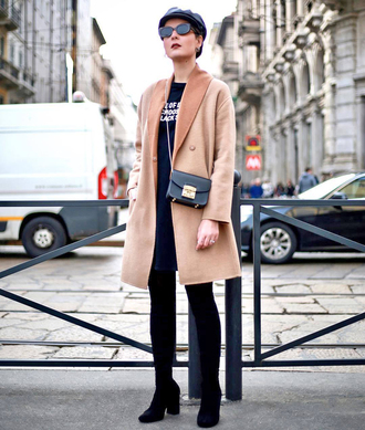 coat tumblr camel camel coat hat fisherman cap boots black boots bag black bag mini bag