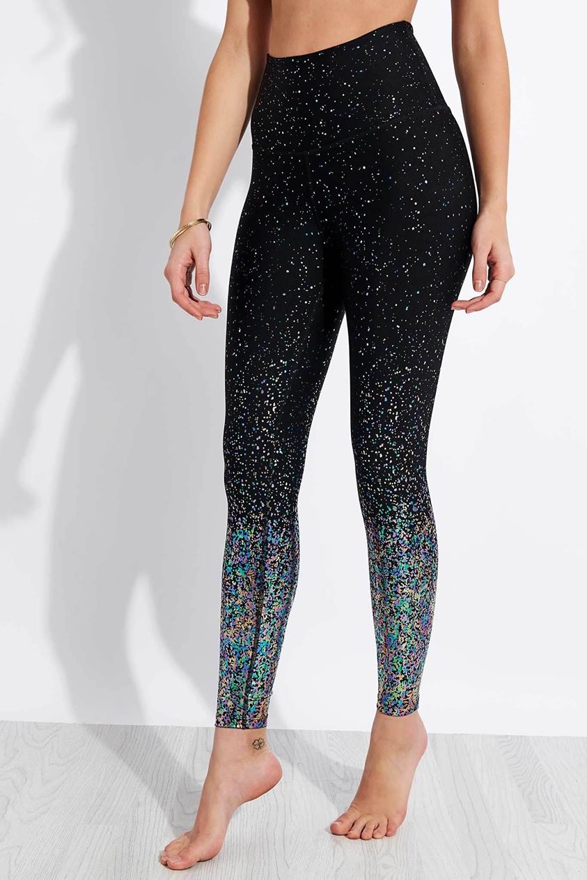 Beyond Yoga Alloy Ombre High Waisted Midi Legging - Black Iridescent Speckle - M Black