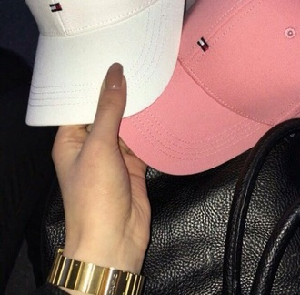 hat tommy hilfiger pink white black cap