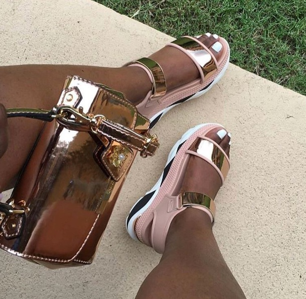 shoes pink gold sandals