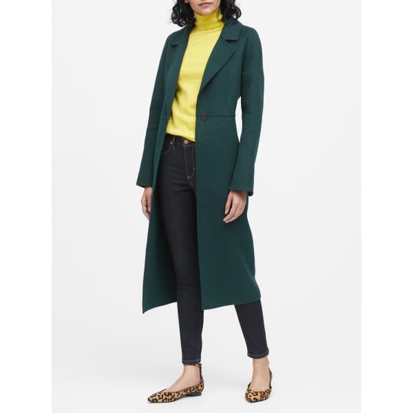 Banana Republic Women's Unlined Double-Faced Maxi Coat Pine Green Regular Size M
