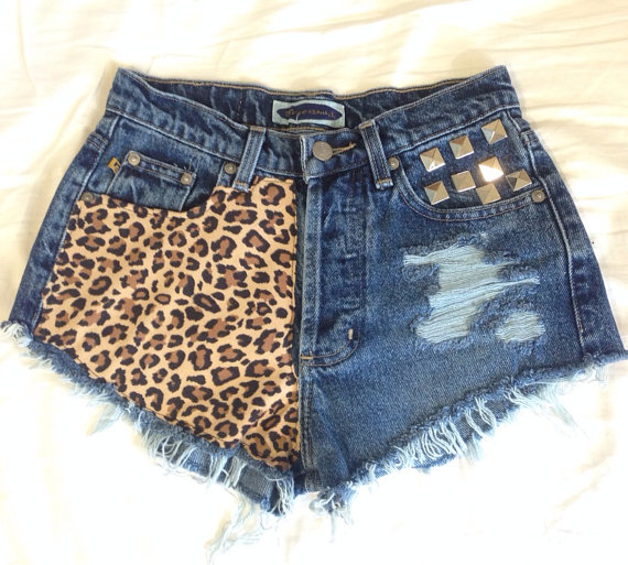 Ripped cheetah studded high waist denim shorts by OcOriginals