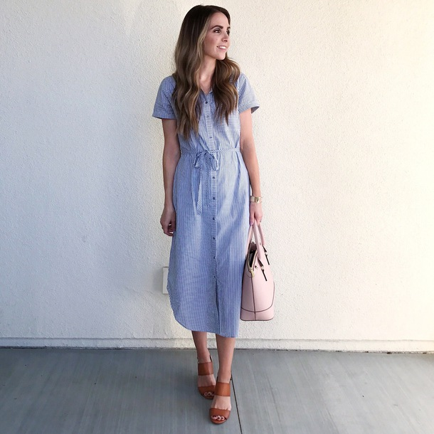 merrick's art // style + sewing for the everyday girl blogger shoes midi dress blue dress sandals handbag dress