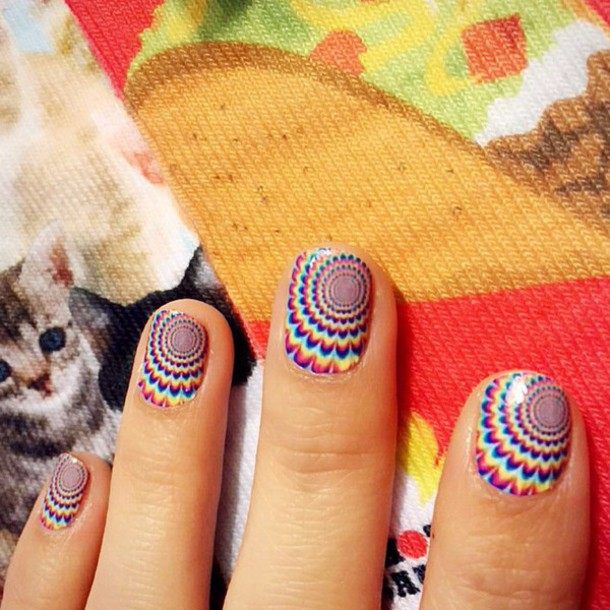 Nail Polish Nail Art Trippy Colorful Psychedelic 70s Style