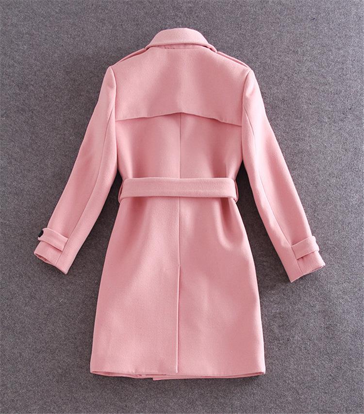 New Brand Women&39s Winter Wool Coat Pink Women Long Coat Single