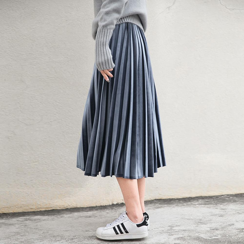 2018 Wholesale Women Long Metallic Silver Maxi Pleated Skirt Midi Skirt  High Waist Elascity Casual Party Skirt From Philipppe, $34 81 | Dhgate Com