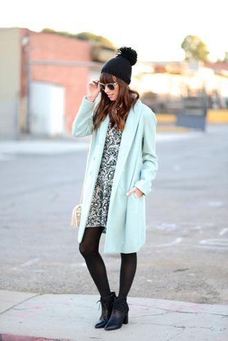 m loves m blogger mint pom pom beanie patterned dress
