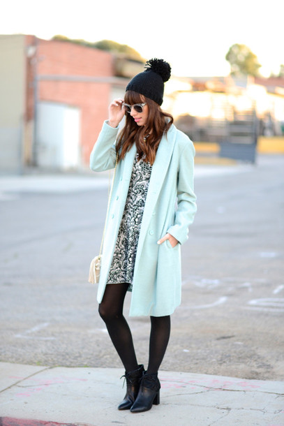 m loves m blogger mint pom pom beanie patterned dress
