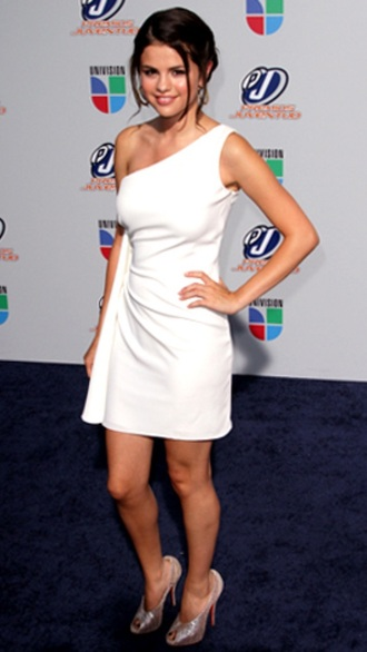 selena gomez white dress one shoulder one shoulder dress