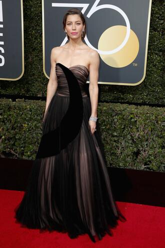 dress gown prom dress jessica biel golden globes 2018 strapless red carpet dress tulle dress