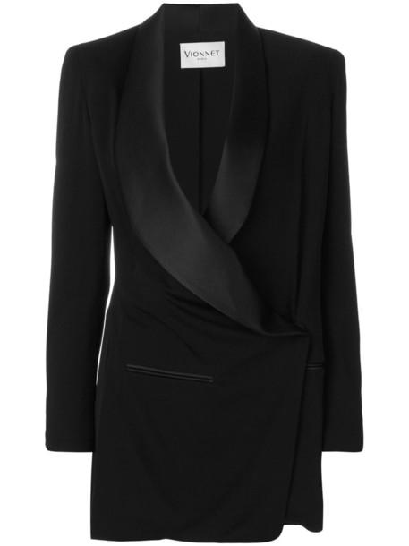 VIONNET blazer long women black silk jacket