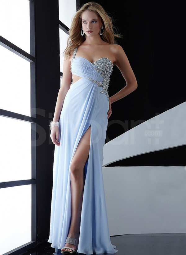 dress graceful and elegant prom dress made of chiffon sleeveless and floorlength