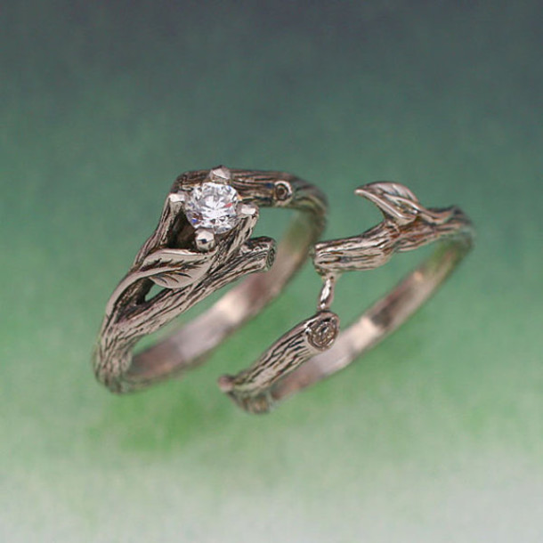 jewels ring branch diamonds silver tree wedding