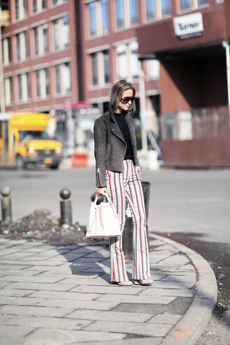 the fashion guitar blogger jacket striped pants perfecto pants bag