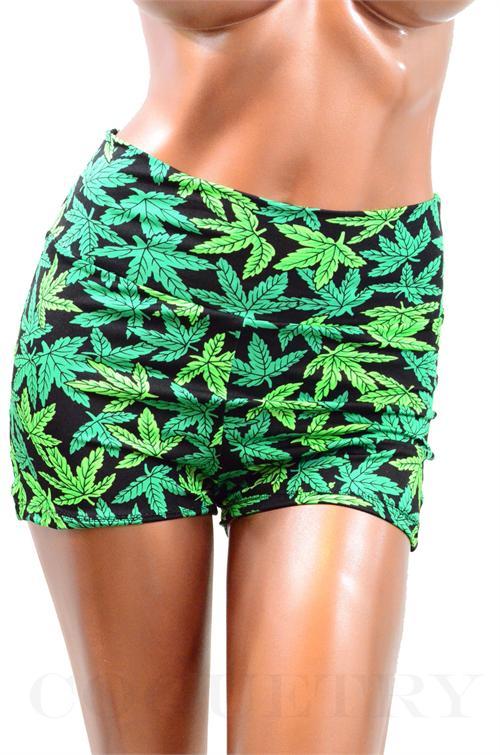 Pot Weed Marijuana Print High Waist Pinup Shorts   MonsterMarketplace.com