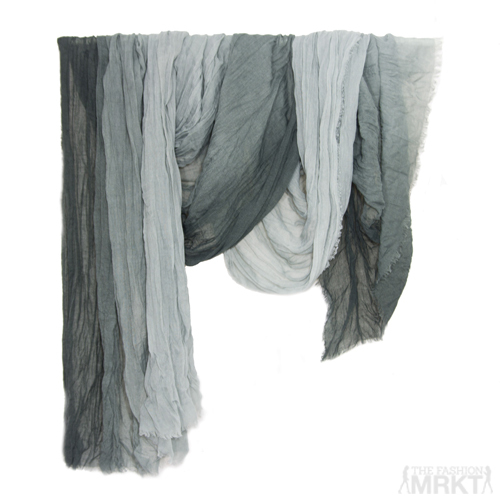 Tilo Gradation Shades Of Grey Ombre Tonal Crinkle Viscose Scarf  / TheFashionMRKT