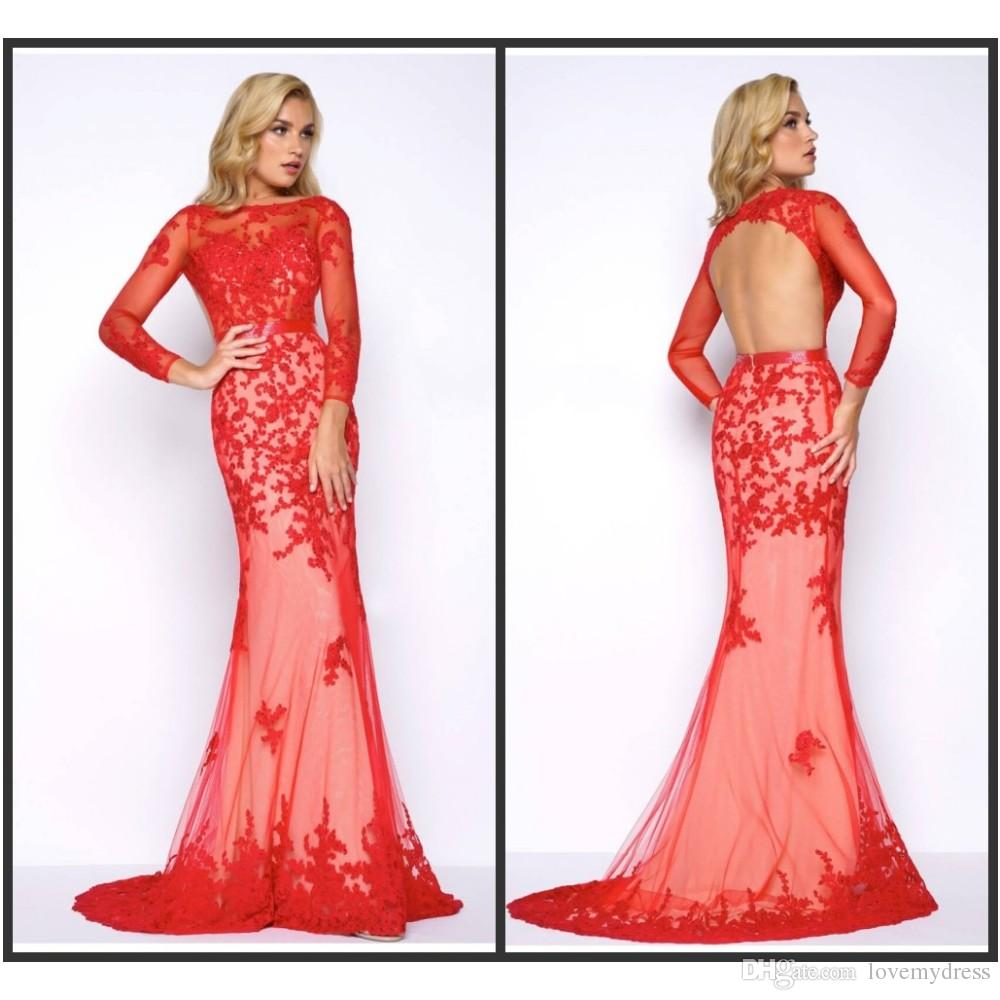 Mermaid Red Evening Gown Cheap Formal Wear Long Sweep Train Open ...