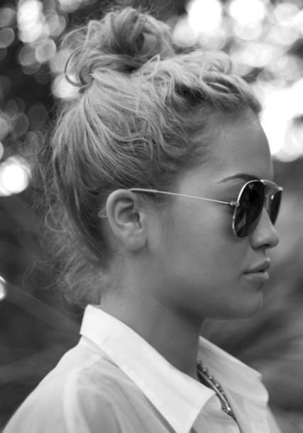 jewels sunglasses sheer messy bun summer white jewelry aviator sunglasses