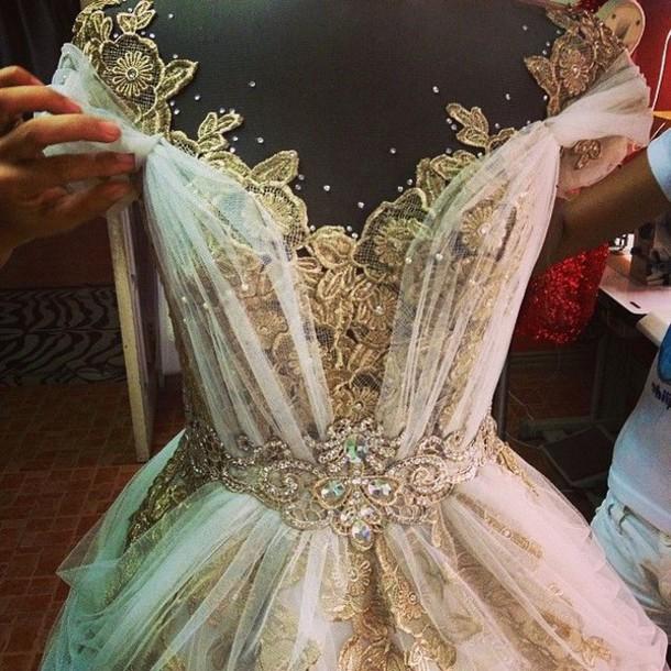 dress prom gold lace prom dress long prom dress whimsical dress