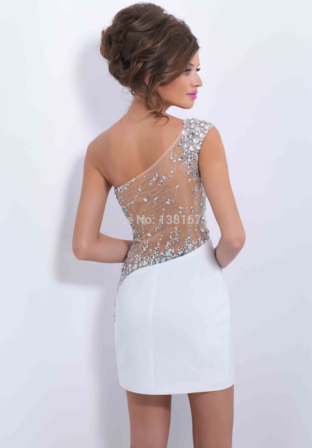 com : Buy Sexy White Crystal Criss cross Design Fitted Sheath ...